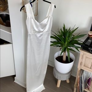 Gorgeous white satin long dress